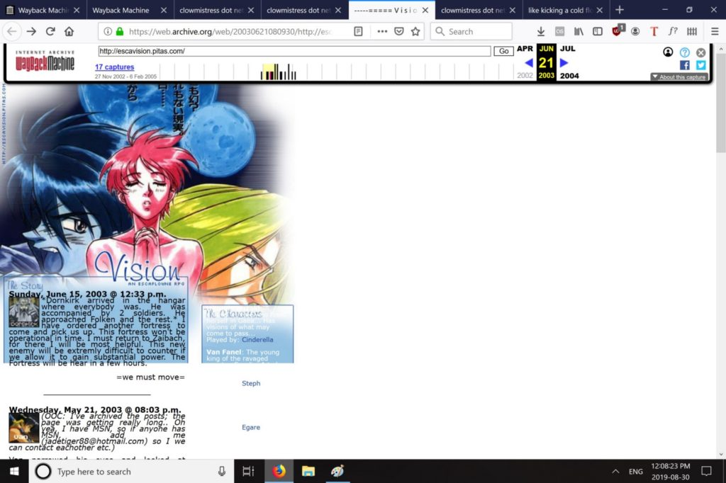A screenshot of an anime blog site that I built from 2002.